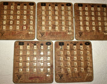 Vintage Bingo Slider Cards, Group of 5
