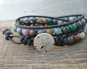 Beaded Wrap Bracelet - Leather Wrap Bracelet for Women - Fancy Jasper Bracelet - Double Wrap Bracelet - Mens Beaded Bracelet