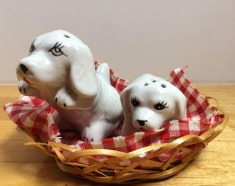 Puppies in a Basket Salt & Pepper Shaker Set Vintage Made in China