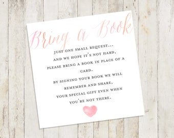 Baby Shower Printable, Baby Shower Bring a Book Card, Bring a Book Instead of a Card, Bring a Book Baby Shower Insert Pastel