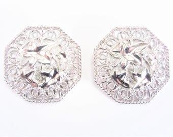 Barrera for Avon Large Filigree Silver Clip On Earrings