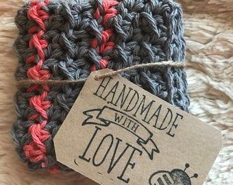 Crocheted washcloth/washrag, handmade washcloths, grey and salmon striped washcloth