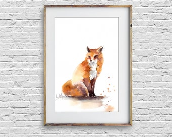 Fox Original Watercolor painting, Animals Painting, Watercolor Painting of fox by CanotStop