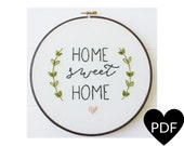 Home Sweet Home Embroidery Pattern, PDF Pattern, Housewarming, Hand Embroidery Pattern, Instant Download PDF, Printable Stitching Pattern
