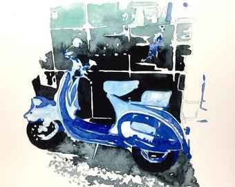 ORIGINAL watercolor• Cafe Cruiser