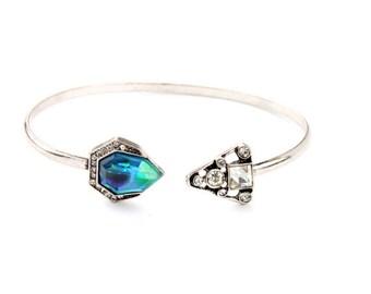 Multi-Stone Mosaic Cuff, Double Stone Bracelet, bridesmaid bracelet, Blue Crystal & Silverstone Vintage Cuff, Boho Silver Bracelet