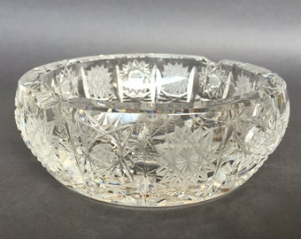 "70's hand cut crystal ashtray ""Rogaska"" made in Slovenia, vintage collectible crystal ashtray, crystal decor new, desert bowl, candy dish"