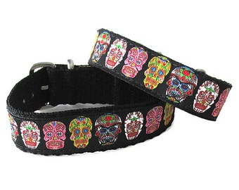 day of the dead sugar skull embroidered 16mm or 20mm watch band for timex