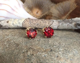 4mm Garnet Stud Earrings, 14k Gold Stud Earrings, Silver Stud Earrings, Oxidized Silver, 14k Gold Fill, Natural Red Garnet, Single Stud
