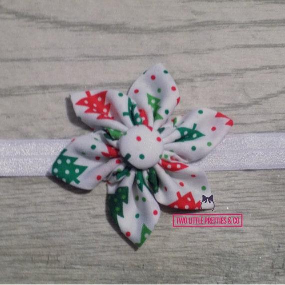 Large Red & Green Christmas Tree Fabric Flower Headband   Baby Girl   Hand sewn