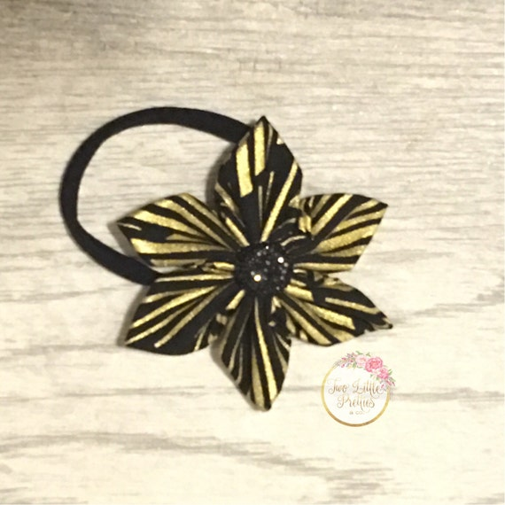 Black & Gold lines fabric flower headband | baby girl | hand sewn