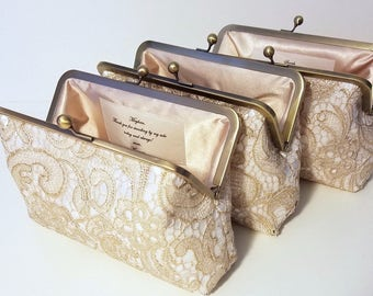 Set of 5, 6 or 7 Gold Lace Bridesmaid Clutches, Personalized Wedding Clutch Set, Maid of Honor Gift, Set of 5, Lace Clutches 8 Inch Frame