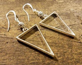 Geometric Earrings, Metal Earrings, Boho Earrings, Triangle Earrings, Silver Earrings