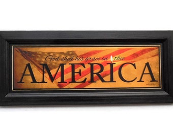 America, God Shed His Light On Thee, Patriotic Art, Robin-Lee Vieira, Wall Hanging, Handmade, 20X8, Custom Wood Frame, Made in the USA