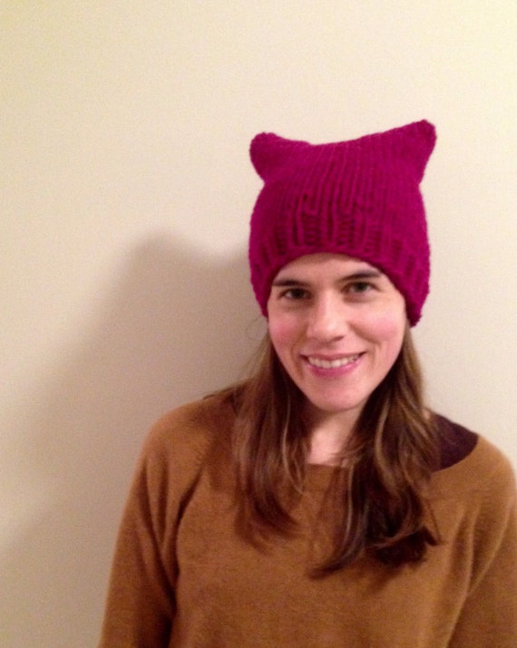 Pink pussy hat in fuchsia 100% wool soft and warm