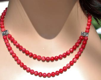 Fancy Red Coral Beaded Necklace Beaded jewelry