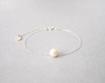Handmade Sterling Silver Pearl Chain Bracelet, Custom letter initials on silver