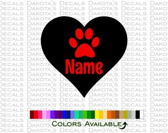 Paw Heart Personalized Decal