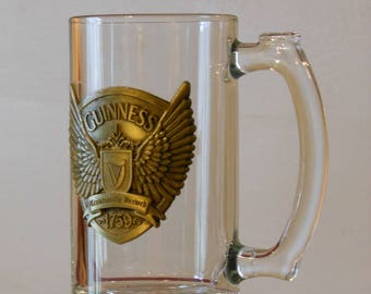 "Guinness ""Wings"" Glass and Pewter Stein"