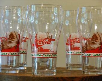 Six 14-Ounce Coca-Cola Santa Claus Christmas Drinking Glasses