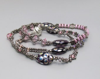 Wrap Bracelet, Pink and Silver with Glass Beads, Crystals, and Pearls