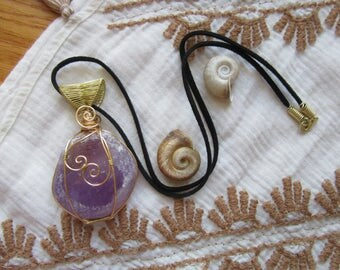 Love Potion // Amethyst Seer Stone Wire Wrapped Necklace // Vegan Suede