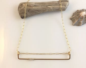 Linear Bar Necklace with Diamonds