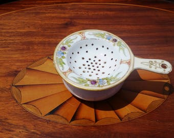 Tea Strainer Hand Painted Porcelain Nippon Handpainted