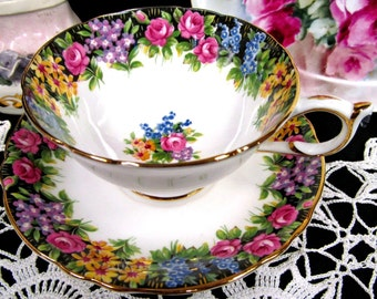 Paragon tea cup and saucer OLD ENGLISH GARDEN pattern rose teacup wide mouth