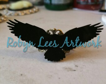 Black Flying Raven Crow Bird Silhouette Laser Cut Adjustable Bronze Filigree Ring. Gothic, Edgar Allan Poe, Costume, Different, Victorian