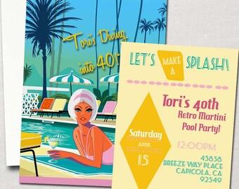 60's Retro Mod Martini Pool Party Invitation~ DIY Printable Set~ Birthday, Graduation, Bachelorette Party