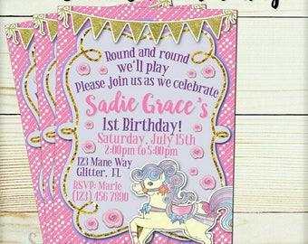 Personalized Pink Carousel Birthday Invitation - Pink Gold Carousel Invitation - Girls Carousel invite printable
