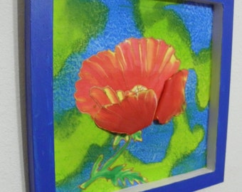 "Painted silk red poppy flower blue wood frame 10"" by 10"" with 3D petals # 28"