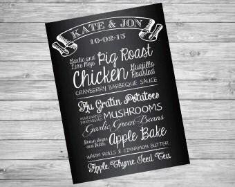 Chalkboard Wedding Menu Sign | Custom Printable File