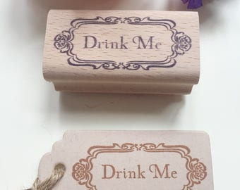 """Custom  Stamp ( 2.36"""" x1"""" )-D -Drink me stamp- Alice in Wonderland inspired Eat Me and Drink Me custom rubber stamps-Treat, Party Favor"""