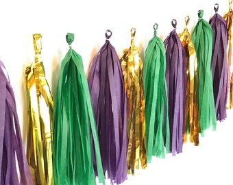 Mardi Gras Garland Kit Masquerade decorations Fat Tuesday Mardi Gras Bachelorette Emerald Gold and Purple Garland Kit, DIY New Orleans theme