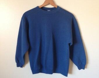 Chic Plain Blue Sweatshirt Size M