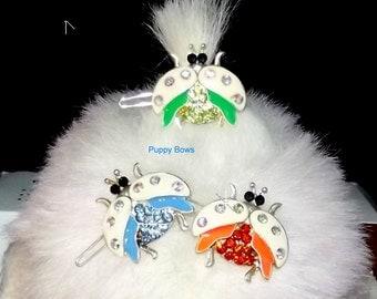 Puppy Bows ~ Rhinestone ladybug barrettes for dogs bow pet barrette blue green orange~ US Seller