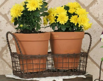 Small Wire Basket with Terra Cotta Pots