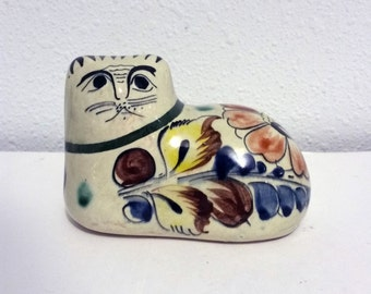 Vintage Tonala Cat Signed Tonala Mexico Pottery Cat Made in Mexico Folk Art Cat Figurine