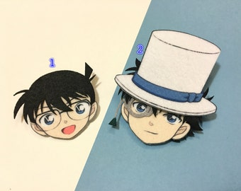 Case Closed - Detective Edogawa Conan and Phantom Thief Kaitou Kid Felt Pins by Nano Angels