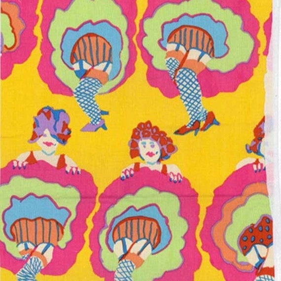 YOU CAN CAN Yellow pwbm059 Brandon Mably for Kaffe Fassett Collective Spring 2017 Sold in 1/2 yd increments