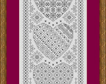 Blackwork Embroidery Chart ~  Heart Sampler ~ PDF Chart