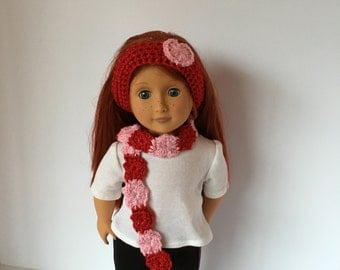 """VALENTINES DAY Doll Headband/scarf. 18"""" doll.  Fits American Girl Doll. Doll set. Accessories. Crocheted scarf. Crocheted headband."""