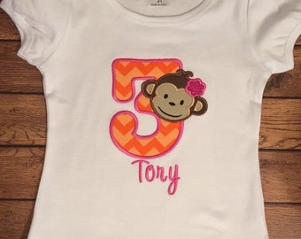 Pink and Orange Girly Monkey Birthday Shirt