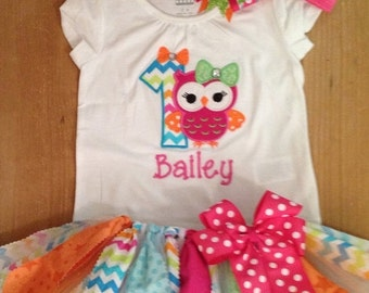 Bright Girly Owl Birthday Scrap Fabric Tutu Outfit