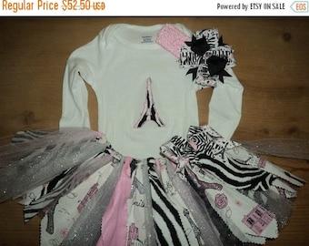 Pink, Black, Silver, and Zebra Paris Scrap Fabric Tutu Outfit