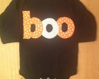 Black, Orange, and Silver Glitter Boo Halloween Shirt or Baby Bodysuit