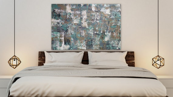 """36 x 24 """"In the Calm"""" Large turquoise gray blue brown tan white original abstract modern painting gallery wrapped large abstract painting"""
