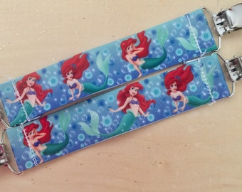Princess Ariel-Little mermaid Inspired Mitten Clips-Winter-Gloves-Fabric-Made to order